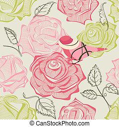 retro, floral, e, pássaro, seamless, padrão