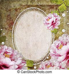 retro, floral, fundo, com, quadro, e, flores