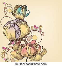 retro, floral, fundo, lugar, para, texto