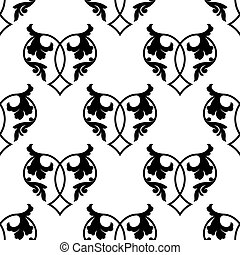 Retro floral heart seamless pattern
