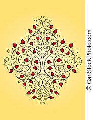 retro, floral, ornamento, (vector)