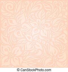 Retro floral Pale ecru vector pattern wallpaper design