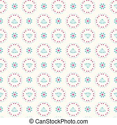 Retro Floral Pastel Daisy Pattern, Seamless Vector