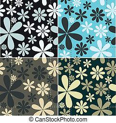 Retro Floral Pattern Set