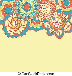 retro, floral, plano de fondo