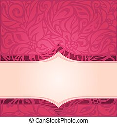 Retro floral red vector pattern wallpaper design