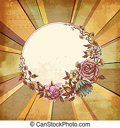 Retro floral round frame over old paper background