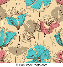 retro, floral, seamless, model