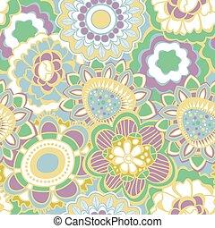 retro, floral, seamless, patrón