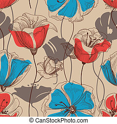 retro, floral, seamless, patrón, vector