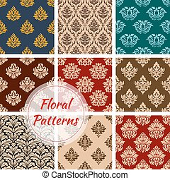 Retro floral seamless pattern background set