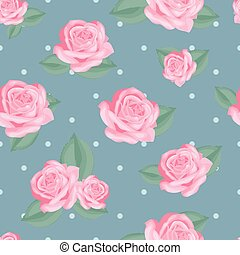 Pink roses with leaves on vintage blue polka dot background.