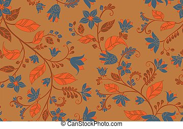 retro floral seamless texture with blue flowers and brown twigs,