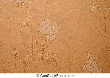 retro, floreale, carta da parati, dorato, disegno
