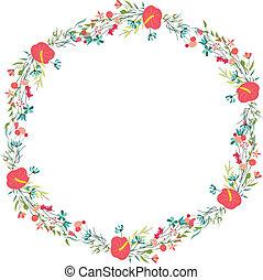 retro floresce, cute, floral, frame.