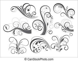 Retro Flourish Designs - Abstract Retro Artistic Flourish...