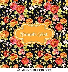 Retro Flower Card - for invitation, congratulation, scrapbook - in vector