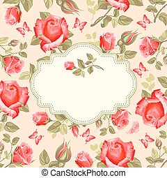 Retro flower card- roses