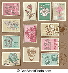 Retro Flower Postage Stamps - for wedding design, invitation, congratulation, scrapbook - in vector