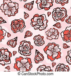 Retro Flower Rose Buds Seamless Vector Pattern