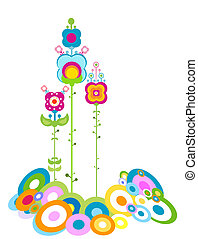 retro flowers abstract design