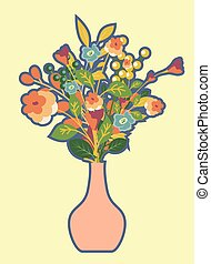 Retro Flowers Bunch with Vase