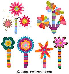 retro flowers - retro fantasy flowers and trees set