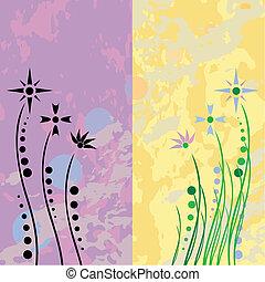 Retro flowers grunge