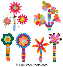 retro flowers - retro fantasy flowers and trees set