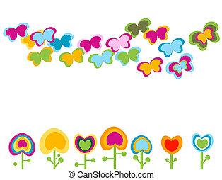 retro flowers, stylized elements