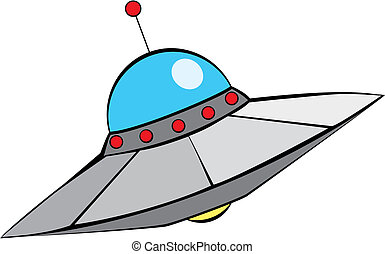 Retro Flying Saucer - Retro Alien Flying Saucer with in...