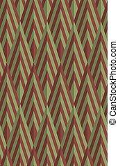 Retro fold green and brown striped diamonds