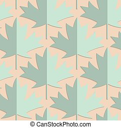 Retro fold green maple leaves