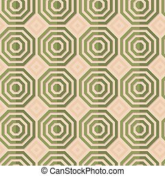 Retro fold green striped octagons