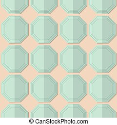 Retro fold light green octagons