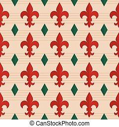 Retro fold red Fleur-de-lis and green diamonds