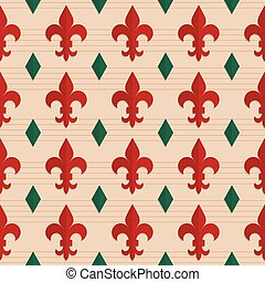 Retro fold red Fleur-de-lis and green diamonds