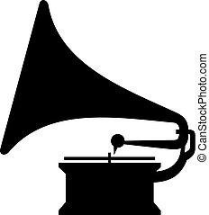 retro, fonógrafo, (gramophone)