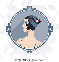 retro, fond, à, beau, girl, de, 1920s, style.