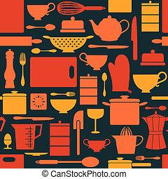retro, fond, cuisine