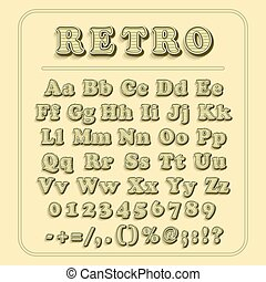 Retro font on light yellow background. The alphabet contains...