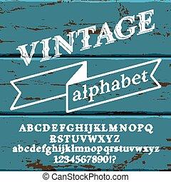 Retro Font on wood