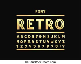 Retro font. Vector alphabet