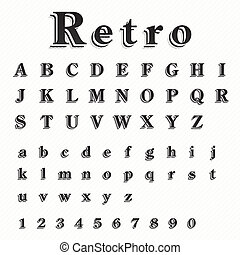 Retro Font Vector Set
