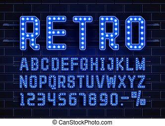Retro font vintage, light sign set. Vector
