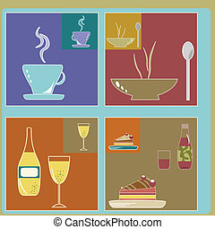 retro food and drink icons
