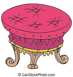 retro foot stool drawing