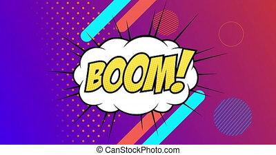 retro, formes, boom, texte, parole, contre, arrière-plan violet, résumé, bulle