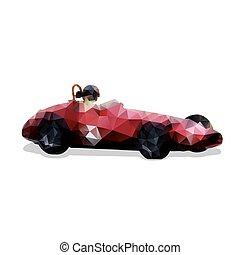 Retro formula car, red vector polygonal illustration