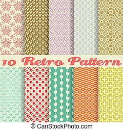 retro, forskellige, vektor, seamless, mønstre, (tiling).